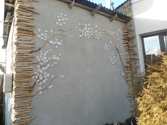 Облицовка натуральным камнем стен, колонн, откосов